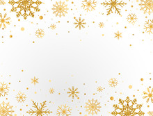 Gold Snowflakes Frame On White...