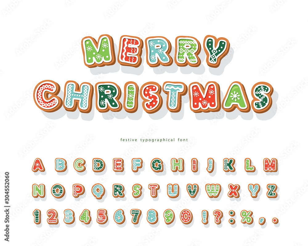 Fototapeta Christmas Gingerbread Cookie font. Hand drawn cartoon colorful alphabet for holidays. Biscuit letters and numbers. Vector