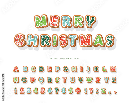 Obraz Christmas Gingerbread Cookie font. Hand drawn cartoon colorful alphabet for holidays. Biscuit letters and numbers. Vector - fototapety do salonu