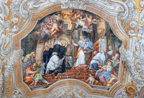 CATANIA, ITALY - APRIL 7, 2018: The vault fresco from live of Saint Benedict in church Chiesa di San Benedetto by Giovanni Tuccari (1667–1743).