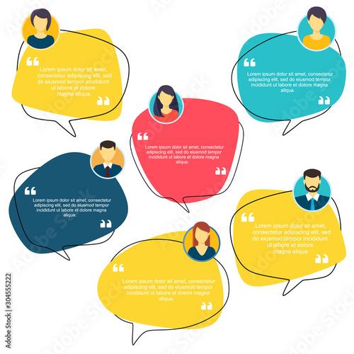 Fotografía  Testimonial Speech bubble concept, customer feedback for info graphic, application for info graphic, application and website