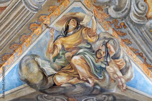CATANIA, ITALY - APRIL 7, 2018: The fresco of Cardina Virtue of Hope in church Chiesa di San Benedetto by Sebastiano Lo Monaco (1750 - 1800).