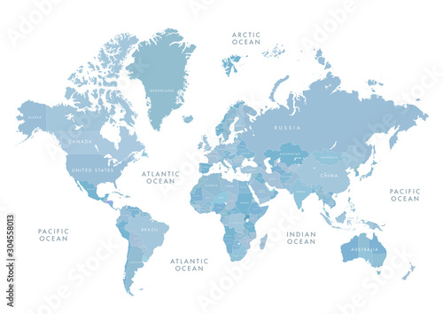 Obraz na plátně Highly detailed world map with labeling