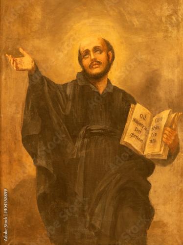 CATANIA, ITALY - APRIL 7, 2018: The painting of St. Ignace in church Chiesa di San Domenico by T. Pignatelli (1926). .