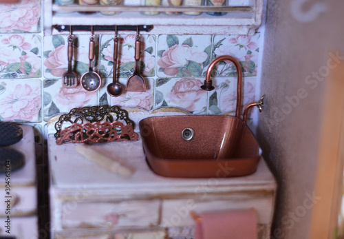 Photo Handmade dollhouse for girls, kitchen in lovely light and wood