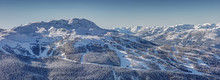 Panoramic View Of Whistler Mountain Resort In Winter On A Sunny Day