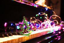 Piano With Beautiful Christmas Decor, Closeup