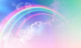 Fototapeta Tęcza - Rainbow background and sky with white clouds