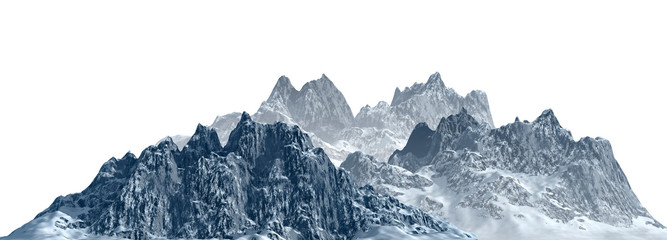Snowy mountains Isolate on white background 3d illustration