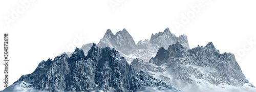 Snowy mountains Isolate on white background 3d illustration Wallpaper Mural