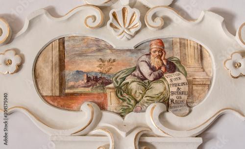 TAORMINA, ITALY - APRIL 9, 2018: The fresco of prophet Zephaniah church Chiesa di San Guseppe.
