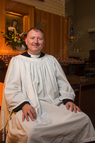 Catholic Priest In Church - Instituted Acolyte Canvas Print