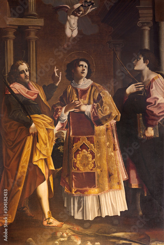 REGGIO EMILIA, ITALY - APRIL 12, 2018: The painting of St. Stephen and oder martyrs in church Chiesa di Santo Stefano by unknown regional artis from 17. cent.