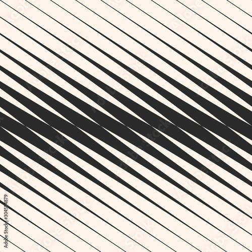 Obraz na plátně Vector diagonal halftone stripes seamless pattern, slanted parallel lines