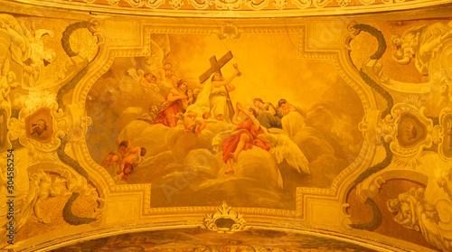 Photo ACIREALE, ITALY - APRIL 10, 2018: The symbolic fresco of Faith cardinal virtue  among the angels in Basilica Collegiata di San Sebastiano by Francesco Mancini Ardizzone (1899 - 1901)