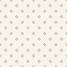 Minimalist Vector Seamless Pattern With Small Floral Shapes, Triangles, Squares