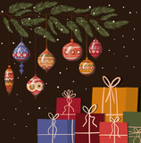 Merry christmas spheres and gifts vector design