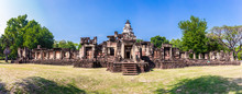 Panorama Of Prasat Phanom Wan Historical Park, Nakhon Ratchasima, Thailand. Built From Sandstone In Ancient Khmer Times