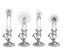 Candle Sketch Set. Hand Drawn ...