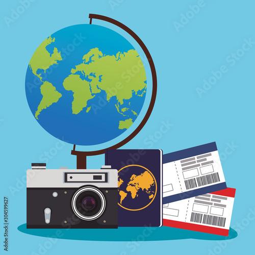 Obraz globe and camera with passboards and passport - fototapety do salonu