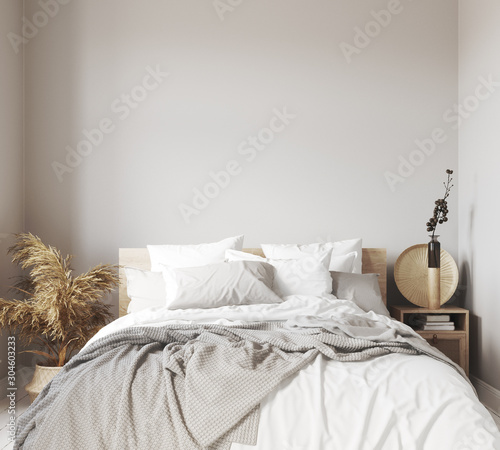 Obraz Scandinavian bedroom close up, wall mock up, 3d render - fototapety do salonu