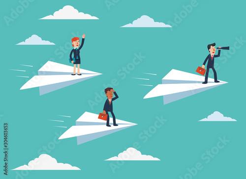 Obraz Business people on paper planes - fototapety do salonu