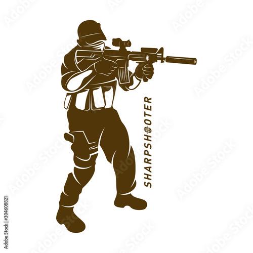 Sniper vector logo design concept style, Sharpshooter Style Concept logo Template, emblem and tshirt printing Fototapeta
