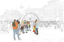 Hand Drawn Illustration. Madrid, Spain, At The Subway In Famous Plaza Del Sol, People Gather.