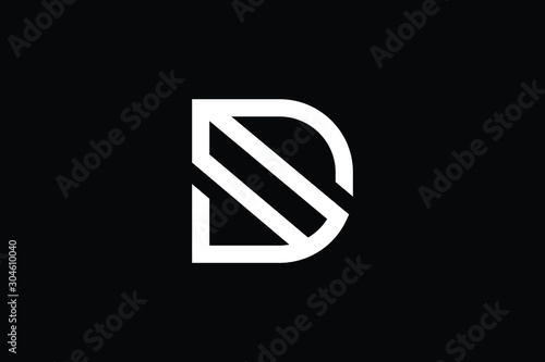 Obraz Outstanding professional elegant trendy awesome artistic black and white color D initial based Alphabet icon logo. - fototapety do salonu