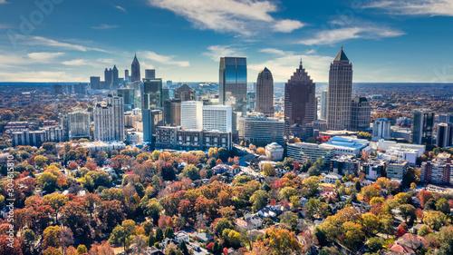 Photo Aerial Panoramic photo of downtown Atlanta Skyline