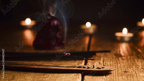 Canvastavla Burning incense stick
