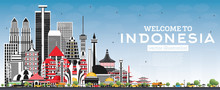 Welcome To Indonesia Skyline With Gray Buildings And Blue Sky.