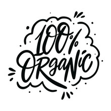100 Organic Calligraphy Phrase. Black Ink. Hand Drawn Vector Lettering. Ecology Design.