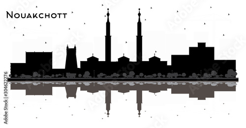 Nouakchott Mauritania City Skyline Black and White Silhouette with Reflections.