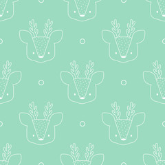 Vector seamless pattern with cute deer heads; blue background; cute cartoon design for fabric, wrapping paper, wallpaper, textile, greeting card, web design.