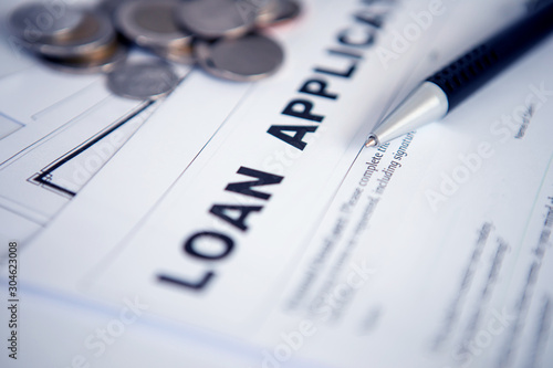 Fototapeta Close up Loan Application form paper with pen , home loan or personal loan application concept obraz