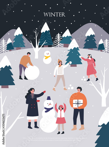 Cuadros en Lienzo  Christmas and Happy New Year Winter illustrations.