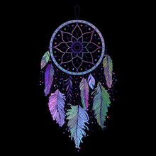 Dreamcatcher With Colorful Feathers On Black Background. Ethnic Art With Native American Indian Boho Design, Mystery Symbol, Tribal Gypsy Poster Or Card. Vector Illustration.
