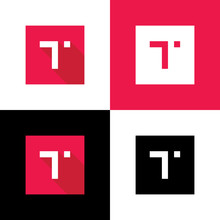 Flat Letter T Logo Icon, Long Shadow Style