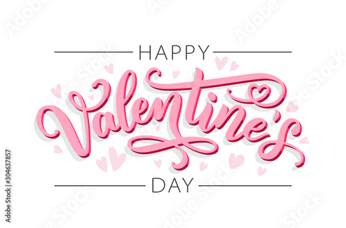 Obraz Happy Valentines Day. Love. Be my Valentine. Vector illustration isolated on white background. Hand drawn text for Valentines Day greeting card. Typography design for print cards, banner, poster - fototapety do salonu