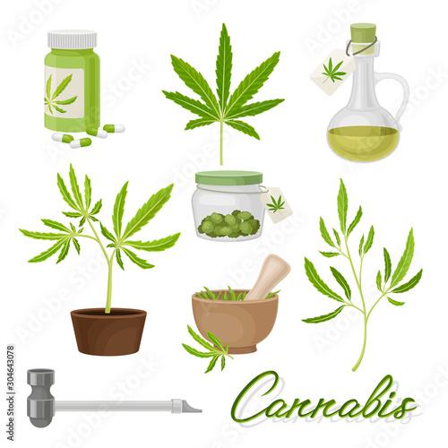 Marijuana or Cannabis Vector Volume Set. Medical Smoking Weed Fototapeta