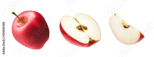 Fotomural Set of fresh whole, cut half and slice red apple isolated on white background