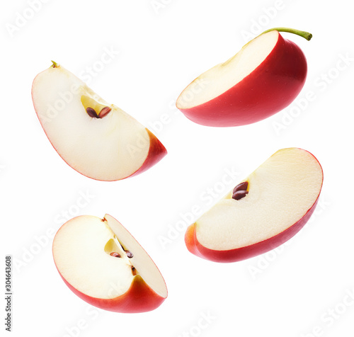 Different angle of slices red apple isolated on white background Fototapeta