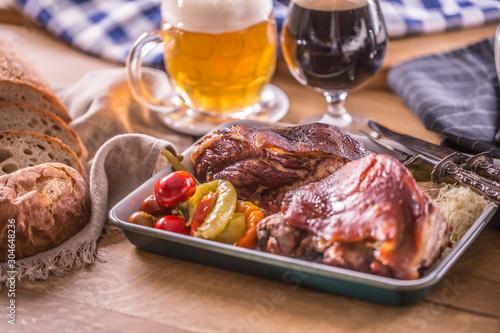 Bavarian knee traditional german czech slovak and austrian delicious food Canvas Print