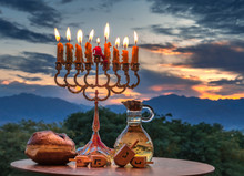 Hanukkah Holiday With Menorah, Burning Candles, Sweet Donut, Jar Of Olive Oil And Wooden Dreidels
