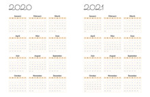 2020-2021 New Year Minimal Calendar Planner Template