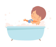 Little Boy Bathing Himself Sit...