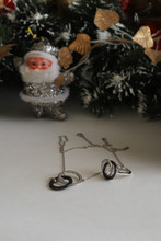 Silver Decoration Pendant And Ring New Year Gift, Flatlay Santa Claus Christmas Tree Snow Decoration Gift, New Year Mood