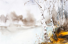 Watercolor Illustration Of A Beautiful Autumn Forest Landscape By The Lake