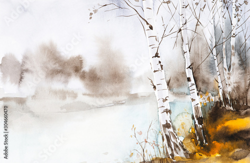 watercolor-illustration-of-a-beautiful-autumn-forest-landscape-by-the-lake